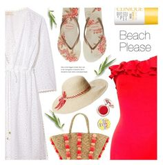 """""""Beach Please: Vacay Outfit"""" by ames-ym ❤ liked on Polyvore featuring Bill Blass, Tory Burch, Havaianas, Seafolly, Lauren Ralph Lauren, Supergoop!, Clinique, BeachPlease and vacayoutfit"""