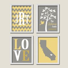 Yellow Grey Gray Custom Family Chevron Monogram Initial State LOVE Bird Tree Date Print Artwork Set of 4 Prints Wall Decor Art Wedding. $45.00, via Etsy.