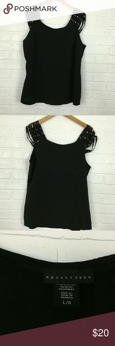 Women Size Large Sz L Black Sleeveless off Color        : Black Style         : Off Shoulder Blouse Brand       : Apostrophe Materials : 97% polyester 3% Spandex Inventory :K34 B2 Apostrophe Tops Blouses
