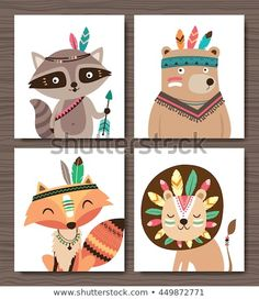 Set of cartoon woodland animals. Raccoon, bear, fox and lion. – Acheter ce vecte… Set of cartoon woodland animals. Raccoon, bear, fox and lion. – Acheter ce vecteur libre de droit et découvrir des vecteurs similaires sur Adobe Stock Tribal Animals, Woodland Party, Woodland Decor, Baby Cartoon, Wild Ones, Woodland Animals, Cartoon Styles, Cute Art, Art For Kids
