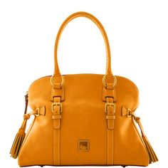 mustard-yellow leather & tassels OH YES. now, if only it didn't have that stupid little duck on it...