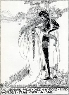 Illustration by Jessie M. King from The Defence of Guenevere and Other Poems by William Morris, 1904 copyright British Library Art Nouveau, Roi Arthur, King Arthur, Glasgow School Of Art, Glasgow Girls, Aubrey Beardsley, Great Love Stories, Pottery Painting, Gravure