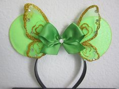 Green Mouse Ears, Sparkle Green Fairy Mouse Ears, Tinker Bell