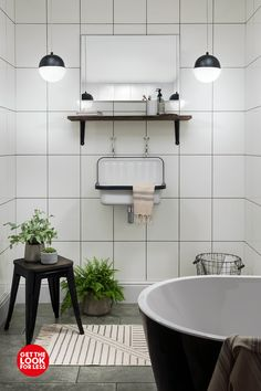 Grey Grout Bathroom, Topps Tiles, Get The Look, Blue Prints