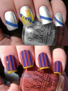 Real Madrid and FC Barcelona Nails nail-make-up-hair