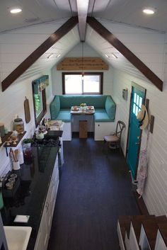 a nice overview of the space with one sided kitchen design.