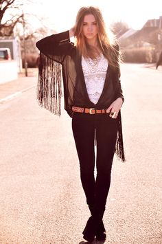 #Bohemian; #Boho    #Skinny Black Jeans; # Black tasseled shirt; i love Everything about this look!  Hippie Style ♥
