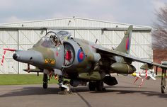 A Royal Air Force Harrier jump jet. Military Jets, Military Aircraft, Fighter Aircraft, Fighter Jets, Close Air Support, Aeroplanes, Nose Art, Royal Air Force, Private Jet