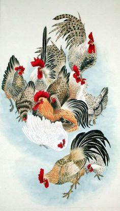 Page 2 Buy Chinese chicken/cock/rooster paintings & scrolls from China. Save compared to your local store by good chicken painting artists. Rooster Painting, Rooster Art, Artist Painting, Chicken Painting, Chicken Art, Chinese Artwork, Chinese Painting, Watercolor Animals, Watercolor Art