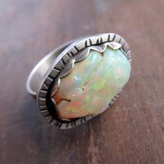 Sterling Silver Ring Cocktail Rough Opal Multicolor Wide Band