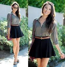 I love this black skater skirt outfit!