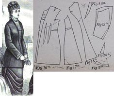 Cornelia 1877.: Elongated cuirrase bodice. Fig. 16. front part, fig. 17. side gore, fig. 18. back gore, fig. 19. sleeves, fig. 20. -21. cuffs, fig. 22. collar in half.