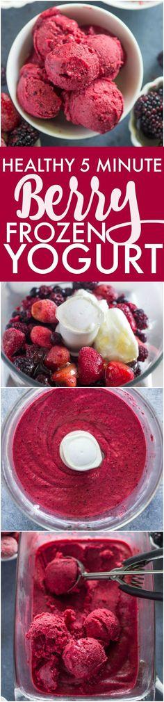 Healthy 5 Minute Berry Frozen Yogurt | Gimme Delicious