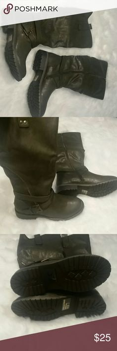 Olive Green|Riding Boots| Stylish Riding Boots |Zipper and buckles on the side|Brand New Shoes Winter & Rain Boots