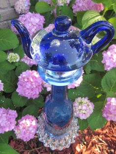Glass Yard Art Totem Sculpture Royal Blue Teapot Design