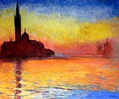 Monet - San Giorgio Maggiore by Twilight.  One of overstockArt's most popular paintings for 2014. Hand painted reproductions are available in a variety of sizes at overstockArt.com. #art