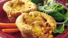 Come home to these baked chicken cups made using Pillsbury® dinner rolls flavored with taco sauce – Mexican dinner ready in 50 minutes.