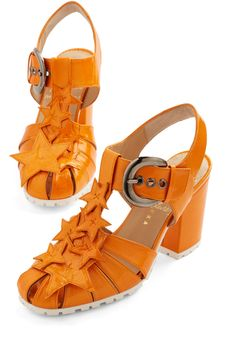 Path to Stardom Heel. Auditions can be nerve-racking, so start off on the right foot and gain some confidence by wearing these stacked orange sandals by Minna Parikka to your script reading. #orange #modcloth