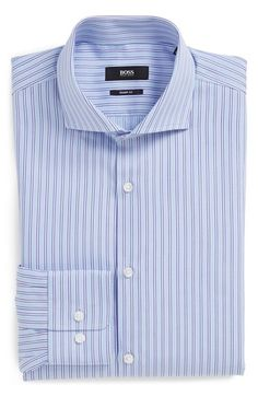 BOSS 'Mark' Sharp Fit Stripe Dress Shirt available at #Nordstrom