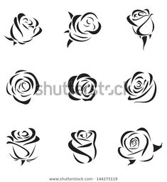 Simple Rose Silhouette Vector: Photovector Illustration Of Outline Rose Set Pencil Art Drawings, Art Drawings Sketches, Easy Drawings, Rose Drawing Tattoo, Nail Drawing, Rose Drawing Simple, Simple Rose, Rose Illustration, Rose Zeichnung Tattoo