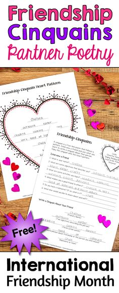 February is International February is International Friendship Month, so it's a perfect time to write friendship poems! Cinquains are simple 5-line poems, and this activity will lead your students through the poetry writing process as they interview a friend and write a poem about him or her. Friendship Cinquains is just one of many seasonal activities in Laura Candler's February Fun Freebies pack!