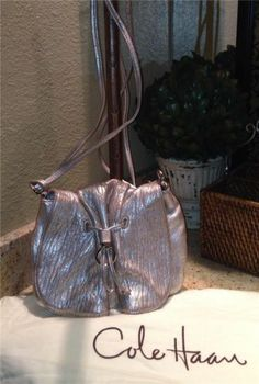 Auth $200 Cole Haan Metallic Leather Cross Body Bag Handbag Purse | eBay