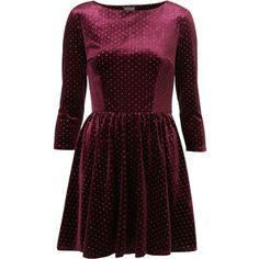 Spot Velvet Flippy Dress ($72) ❤ liked on Polyvore featuring dresses, vestidos, topshop, velvet, women, swing skirt, long sleeve velvet dress, long sleeve dresses, glitter dress and polka dot dress