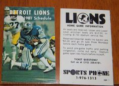 Detroit lions  schedule 1981 NFL Sports phone #schedules