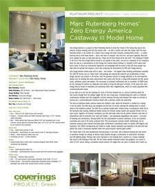 Coverings 2013 PROJECT: Green Platinum Project - Residential, New Construction. Marc Rutenberg Homes' Zero Energy America Castaway III Model Home submitted by Marc Rutenberg Homes and designed by Marc Thee of Marc-Michaels Interior Design, Inc.