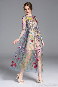 New full wrap embroidery colorful flower sun long sleeve gauze runway formal dress mesh maxi boutique dress big show catwalk full dress Bridal Outfits, Dress Outfits, Fashion Dresses, Maxi Dresses, Sheer Maxi Dress, Vestidos Vintage, Vintage Dresses, Mesh Dress, Dress Up