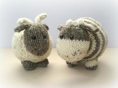 Bramble Goat and Chestnut Cow, knitting amigurumi pattern for sale on Ravelry by Amanda Berry Love Knitting, Knitting For Kids, Baby Knitting, Knitting Toys, Knitting Needles, Yarn Projects, Knitting Projects, Crochet Projects, Stitch Patterns