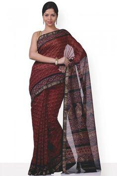 Saree | Hand Block Print | Bagru | IndiaInMyBag.com