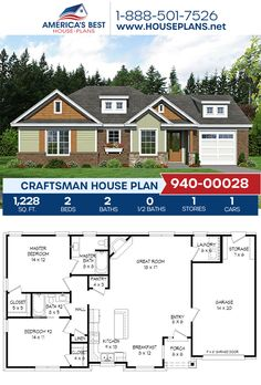 Get to know Plan 940-00028, a charming Craftsman home with 1,228 sq. ft., 2 bedrooms, 2 bathrooms, an open floor plan, and a 1 car garage. #craftsman #architecture #houseplans #housedesign #homedesign #homedesigns #architecturalplans #newconstruction #floorplans #dreamhome #dreamhouseplans #abhouseplans #besthouseplans #newhome #newhouse #homesweethome #buildingahome #buildahome #residentialplans #residentialhome Craftsman Style Homes, Craftsman House Plans, Best House Plans, Dream House Plans, Building Plans, Building A House, Thing 1, Architectural Elements, Bedroom Storage
