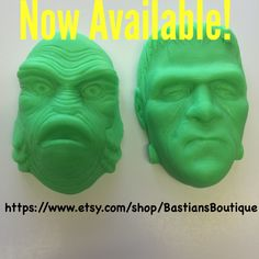 Now Available ✨ Florescent Green Frankenstein & Creature from the Black Lagoon soaps ✨available in Tropical Passionfruit ✨ very limited quantiles   Http://www.etsy.com/shop/BastiansBoutique  #etsy #handcraftedsoap #creaturefromtheblacklagoon #frankenstein #moviesoap #universalmonsters #halloween #horrorsoap