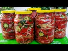 ОБАЛДЕННЫЙ САЛАТ НА ЗИМУ/ ПОНРАВИТСЯ ВСЕМ!!! - YouTube Salty Foods, Home Canning, Russian Recipes, Jamie Oliver, Pickles, Cucumber, Food And Drink, Stuffed Peppers, Vegetables