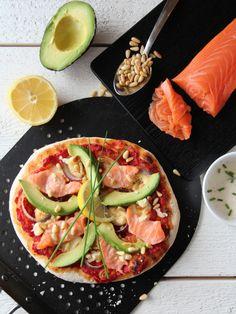 laksepizza Mozzarella, Vegetable Pizza, Bread, Vegetables, Healthy, Food, Veggies, Essen, Breads