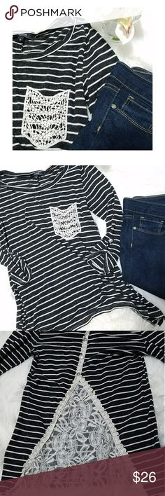 """Gray Lace Back Top Like new condition! Soft and feminine heathered  dark gray (almost black) and white striped top. Button tab 3/4 sleeves. Gorgeous lace and button back details. Size small, 16"""" bust, 26"""" length. S. Line Tops"""