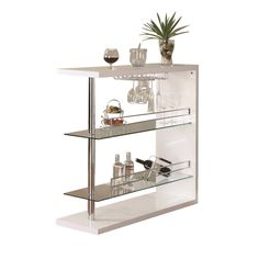 Contemporary White Glass Metal Bar Table