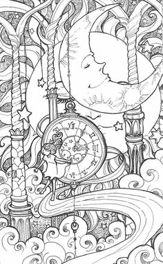 Adult Coloring Book Pages Moon For Grown Ups Printable
