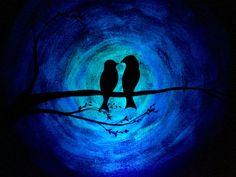Glow in the Dark Love birds bird silhouette by TrueAcrylics