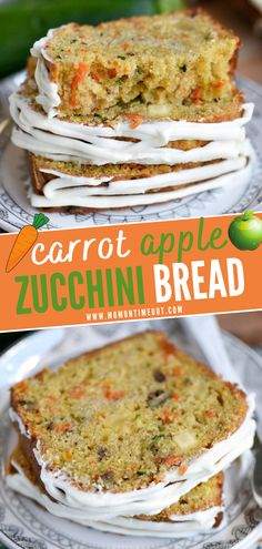 Say hello to your new favorite snack! This incredibly moist and flavorful Carrot Apple Zucchini Bread is a must-make during the summer. Filled with vibrant colors and topped with a simple cream cheese frosting, this quick bread is irresistible! Save this easy recipe!