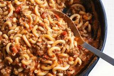 """Gluten-free """"Hamburger Helper"""" One-Skillet Pasta meal. Hamburger Helper is genius in its simplicity: one pan, and you''re done. This version uses brown rice pasta and turkey or bison meat for a leaner twist on the original. Serves 4-6"""