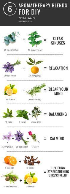 6 Aromatherapy Blends for DIY Bath Salts   http://helloglow.co/6-aromatherapy-blends-for-diy-bath-salts/