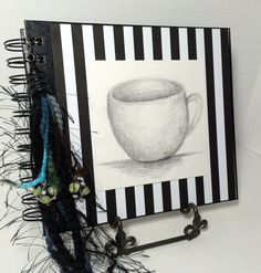 Hand Decorated Journal by AWeekendArtist on Etsy High Quality Scrapbook Paper, Hand Drawn Sketch, yarn and decorative beading on tassle.