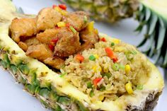 Pineapple Fried Rice Pineapple Fried Rice, Good Ol, Shrimp, Main Dishes, Dinner Recipes, Beef, Chicken, Saturday Night, Ethnic Recipes