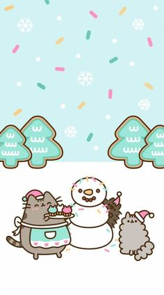 FREE Exclusive Pusheen Android and iPhone® Christmas Wallpapers - - wallpaper - Cat Wallpaper Christmas Phone Wallpaper, Winter Wallpaper, Cat Wallpaper, Kawaii Wallpaper, Wallpaper Iphone Cute, Baking Wallpaper, Aztec Wallpaper, Trendy Wallpaper, Iphone Backgrounds
