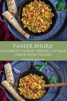A simple scrambled paneer recipe with fresh homemade paneer, vegetables, & spices. Check out how to make paneer bhurji & different ways to serve it. #paneerbhurji #scrambledpaneer #vegetarian #healthy | vidhyashomecooking.com @srividhyam