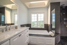 New England Masterbath, White Cabinets, Wood Tile Floors  ~Pompeii Kitchen & Bath Design...