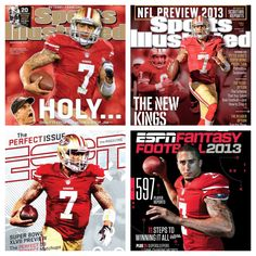 """Holy Kr*p!"" Kap's sports magazine covers...❤ #kaepernick #niners"