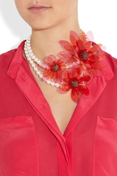 Lanvin  Swarovski crystal and faux pearl floral necklace